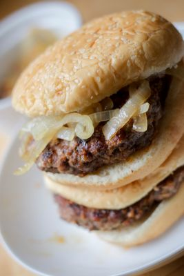 Burgers with Carmelized Onions