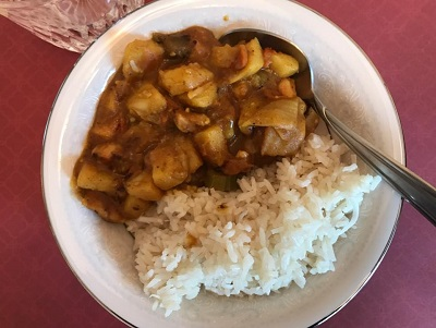 Mild Chicken Curry with Coconut Rice